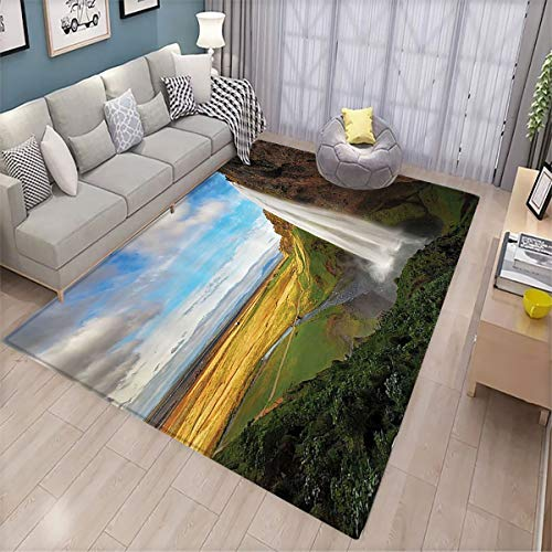 Waterfall Decor Collection Indoor Floor mat Mountain Waterfalls on The Iceland Landmark Picture Various Patterns of Floor mats 5.6'x8.6' Blue Green Mustard White