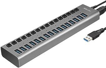 LAAT Aluminium USB 3.0 Hub con 16 Puertos para Transferencia de Datos Hub para Computadoras de Escritorio, Computadoras Portátiles, Ultrabook, MacBook