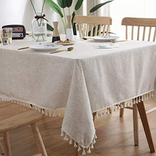 Yinaa Mantel moderno y simple estilo nórdico simple de algodón y lino de color sólido para mantel a prueba de polvo protector beige 140 × 200 cm
