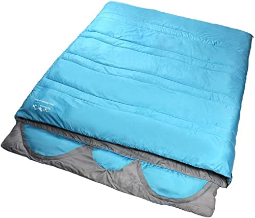 YHEGV 3 Personnes Camping Sac De Couchage Adulte Chaud Léger 4 Saison Compression pour Voyage en Plein Air Randonnée Activités Bleu Vert