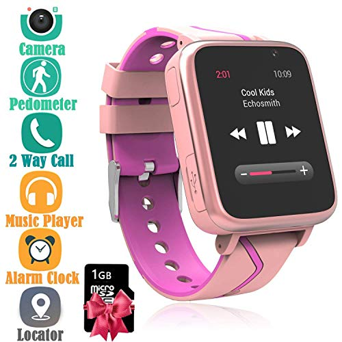 Niños Musica Smartwatch Phone, Reloj Inteligente MP3 con Localizador GPS Chat de Voz SOS Cámara Despertador FM Linterna Relojes para Niños Niñas 4-15 años de Edad Compatible con iOS Android, Rosa