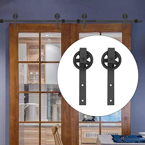 Cocoarm schuifdeurbeslag set looprails voor schuifdeur, hangrails, schuifdeursysteem 12FT dubbele deur, splitten, rondwiel, koolstofstaal, schuurpoort, ophangrail