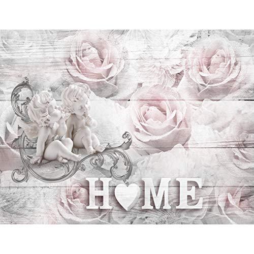 Fototapete Vintage Home Engel Rosen 352 x 250 cm Vlies Tapeten Wandtapete XXL Moderne Wanddeko Wohnzimmer Schlafzimmer Büro Flur Rosa 9503011b