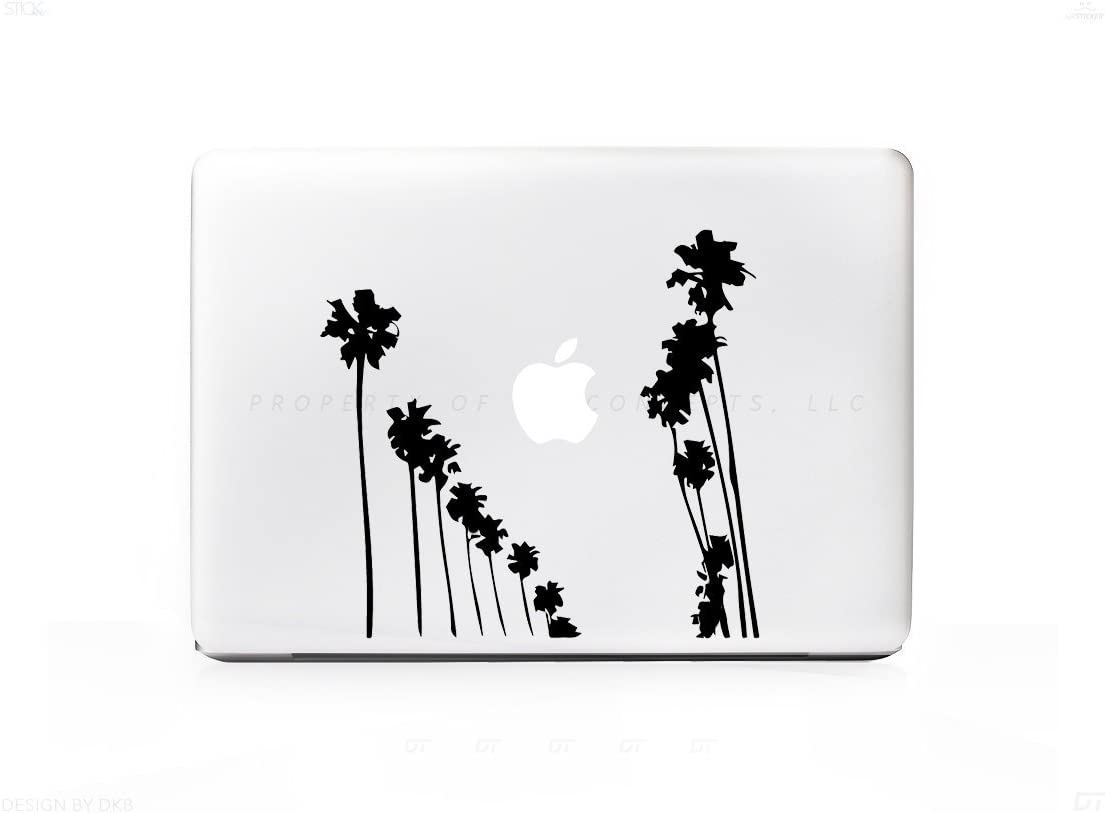 2 Palm Tree Rows Up Sticker Decal for for MacBook Pro, PC, Laptop, Window, Car, or Wall