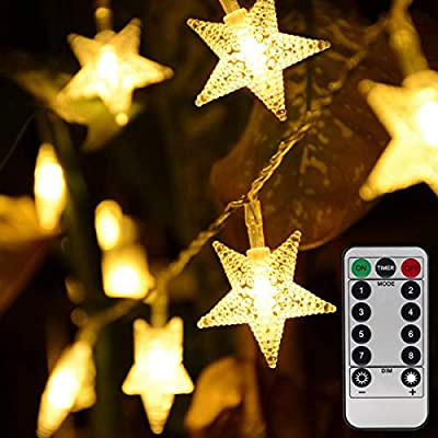 Homeleo Warm White 50 Led Star Fairy Lights with Remote Control, Battery Powered Five-Pointed Star String Lights by Homeleo