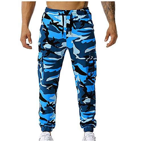 Pantalones de chándal para hombre, diseño de camuflaje, holgados, varios bolsillos, pantalones de entrenamiento, pantalones de deporte ligeros, pantalones de ocio, Azul-01., XXXL