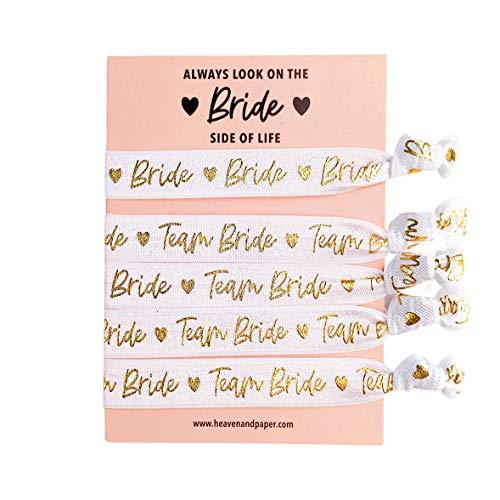 Lot de 5 bracelets JGA (4 + 1) Team Bride pour enterrement de vie de jeune fille, blanc avec inscription dorée, élastique, doux et de qualité (1 Bride/4 Team Bride)