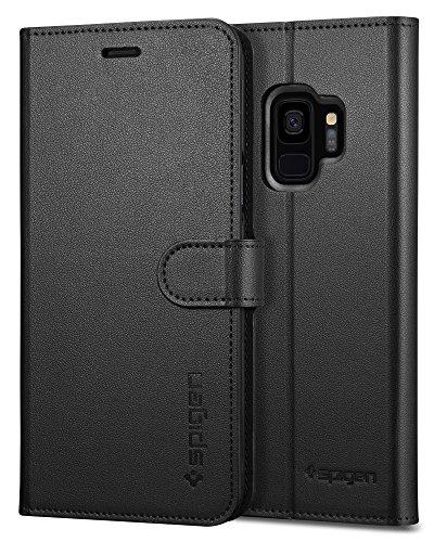 Spigen [Wallet S] Samsung Galaxy S9 hoes (592CS22870) geïntegreerde standfunctie en portemonnee kaartenvak mobiele telefoon handige lederen tas beschermhoes case (zwart)