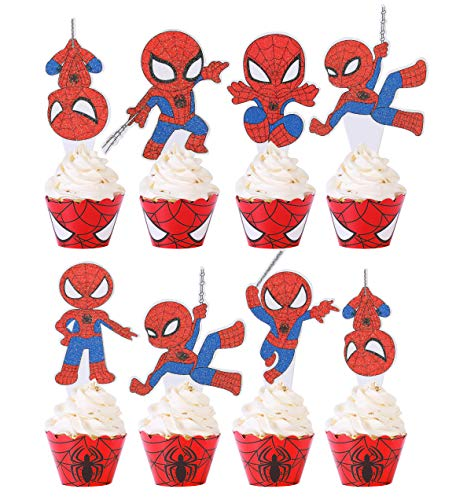 Kids Cupcake Cake Toppers(30pcs) and Wrappers(30pcs)Baby Shower Kids Birthday Party Supplies Decorations Glitter Cupcake Topper Food Picks for Theme Party