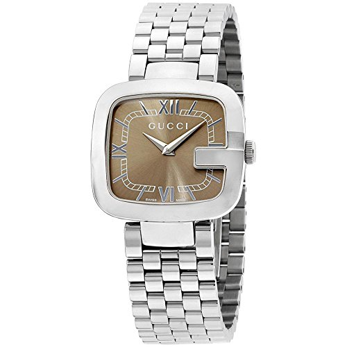 Gucci Women's G-Gucci Steel Bracelet & Case Quartz Brown Dial Watch YA125413
