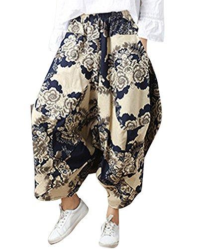 MISSMAOM Taglia Unica Pantaloni alla Turca Donna e Pantaloni Cavallo Basso Uomo con Stampe E Motivi Etnici L Abbigliamento Etnico Stile 24