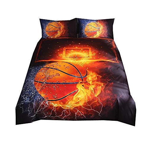 Sticker superb 3D Basketball 150X200CM Sport Bettwäsche Set mit Reißverschluss, Geburtstag Junge Mann Bettbezug Set mit Kissenbezug (Basketball, 150x200cm)