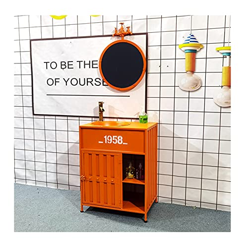 Mueble Baño Lavabo Con Pie De Hierro Forjado, Fregadero De Pedestal De Estilo Industrial Simple, Decoración Retro Mueble Lavamanos Baño Con Combinación De Grifo Y Desagüe 46x65(Color:Naranja + Espejo)