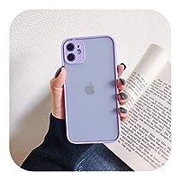 Josms for iPhone 11 Pro Max 6 7 8 Plus X Xr Xs SE2020 12 Mini 12 ProMaxカメラプロテクションクリア耐衝撃設計用のつや消し電話ケース-purple case-for iPhone 12
