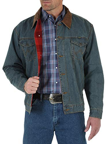 Wrangler mens Western Style Lined denim jackets, Denim/Blanket, X-Large US