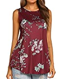 Tobrief Womens Floral Printed Tunic Shirts Sleeveless Round Neck Top (L, Wine Red) (Apparel)