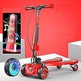 CYGJ Acero Carbono Patinete Fliker con 4 luz LED Intermitente Ruedas de PU,Rojo Plegable Patinete Hoverboard para Niños de 3 a 8 Años