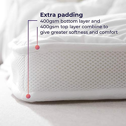 rejuvopedic AIRFLOW Double Size Mattress Topper Protector Superior 800GSM Filling