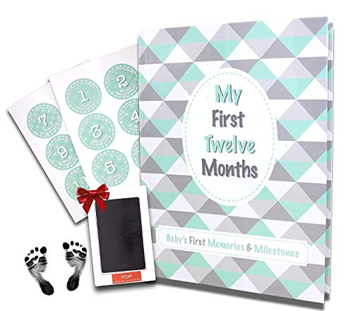 First Year Baby Memory Book + Free Baby Milestone Stickers + Free Clean-Touch Ink Pad + Giftbox   Unisex   Gender Neutral   Non-Traditional Family Friendly   New Design with 40 Pages