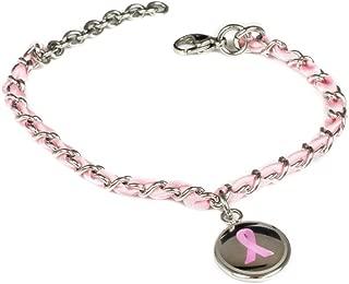 Custom Engraved Pink Breast Cancer Awareness Bracelet - Silk Woven 316L Steel