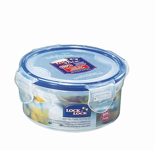 3 Stück Lock & Lock Frischhaltedose, Vorratsbox, Vorratsdose, 300 ml rund Ø 114 x 55 mm, transparent, Set by Danto®