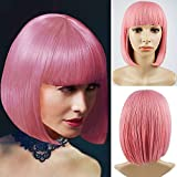 Short Bob Wigs with Bangs Cosplay Hair Wig for Women Shoulder Length Natural Bob Hair Colorful Costume Wigs (Mix Pink)