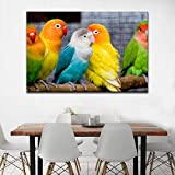 ganlanshu Retrato de Arte Animal Colorido Loro Azul Arte de pájaro Lindo para decoración del hogar Pintura sin Marco 30cmX45cm