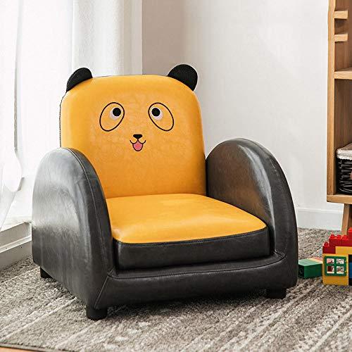 Asiento del sofá para niños Dibujos Animados niño niña Princesa bebé bebé Aprender a Sentarse en el Asiento del sofá Lindo Tatami de Lectura-Amarillo Panda PU sofá reclinable