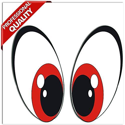 SkinoEu® 2 Stück Vinyl Lustiger Aufkleber Autoaufkleber Funny Stickers Augen Rot Auto Moto Motorrad Fahrrad Skate Helm Fenster Spiegel Tür Tuning B 75