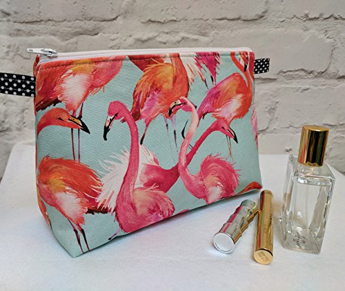 Large Flamingo Make Up Bag / Cosmetic Bag / Wash Bag. Fully lined in contrasting Pink. 25cm(10')Wide, 18cm(7')Tall by 10.5cm(4')Deep. Handmade in Dorset UK