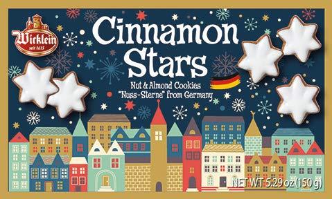 Wicklein Zimtsterne Cinnamon Star Cookie - Nuss-sterne German Holiday Cookies - With Nuts & Almonds, 5.29 oz