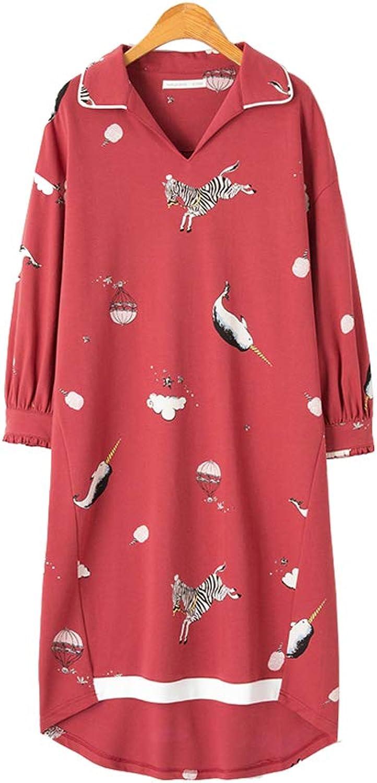 Lilomgjiao Ladies Pajamas Nightdress Cotton Long Sleeve Long Red Nightdress Loose Pajamas Home Service Pajamas Pajamas