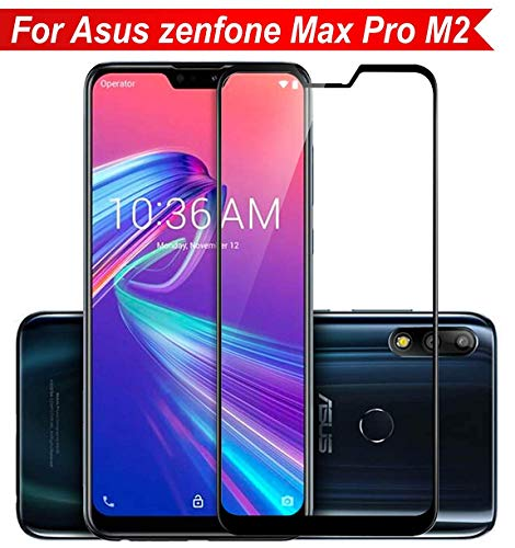 BRK Premium HD+ Quality 6D Tempered Glass No Rainbow Effect 9H Full Screen Coverage with Pro+ Anti-Fingerprints & Oil Stains Coating with Installation Kit for Asus Zenfone Max Pro M2 - Black
