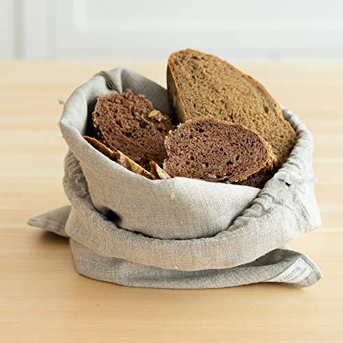 Brotbeutel aus Bio Leinen - Brot Tasche - Leinenbeutel - Beutel Stoff Leinen - Obst- und Gemüsebeutel - Natur (30 x 40 cm)