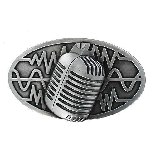 eeddoo® Gürtelschnalle - Mikrofon (Buckle für Wechselgürtel für Damen und Herren | Belt Frauen Männer Oldschool Rockabilly Metall Gothic Wave Rock Biker Western Trucker Casino Skull)
