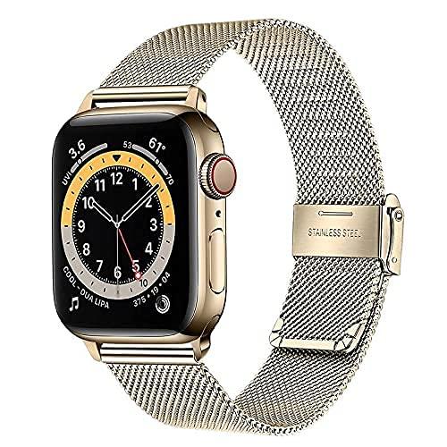 Correa compatible con 40mm 38mm Apple Watch Hombres, mujeres, banda de reloj de reloj de acero inoxidable Malla tejida pulsera pulsera para iWatch SE Serie de Apple Watch 6 5 4 3 2 1 Todos los modelos