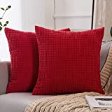 MIULEE Set of 2 Corduroy Soft Big Corn Solid Decorative Square Throw Pillow Covers Cushion Case For Sofa Bedroom Car Red 26'x26' 2 Pieces
