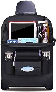 DOBEST Car Seat Back Organizer Foldable Dining Table Holder Tray Bottles Holder Multifunctional Protector Storage Bag Kick Mat Travel Accessory PU Leather - Black