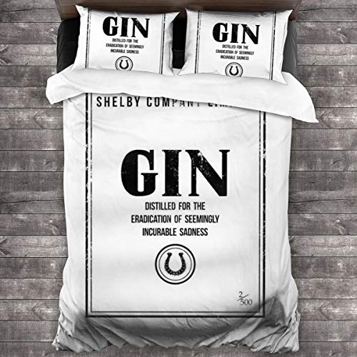KUKHKU Shelby Company Limited Gin Label Peaky Blinders 3-teiliges Bettwäsche-Set Bettbezug 218 x 178 cm, Queen dekoratives 3-teiliges Bettwäsche-Set mit 2 Kissenbezügen