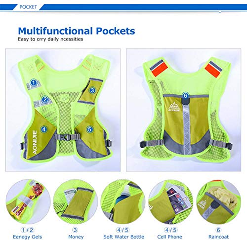 AONIJIE Hydration Backpack, Reflective Running Back Vest with 6 compartments, Lightweight, Breathable, Carry for Outdoors Sport Trail Marathoner Race Cycling Biking Climbing Hiking