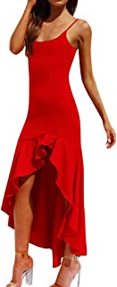 Hunauoo Sexy Womens Ruffle Off Shoulder Sleeveless Party Dress Princess Dress