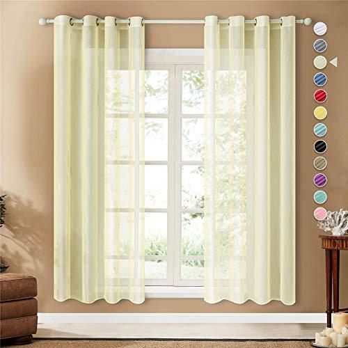 Topfinel Lot de 2 Rideaux Voilage Beige 140x225 cm à Oeillets en Lin Imitation Voilage Fenêtre Transparent pour Salon Voilage Grande Largeur Décor Cuisine Chambre Enfant