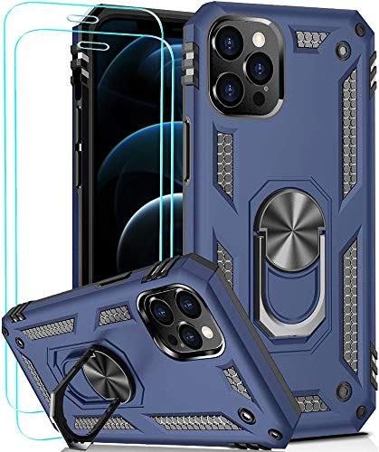 KUERRY for iPhone 12 Pro Max Case with Screen Protector [2Pack] [ Military Grade ] 18ft. Drop Tested Case | Car Mount Ring Kickstand | for Apple iPhone 12 Pro Max 6.7 Inch (2020)-Blue