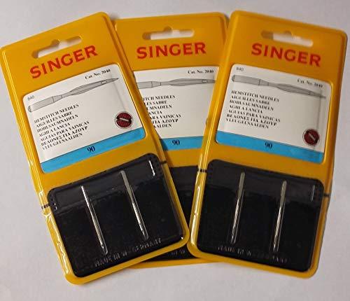 Singer Hemstitch - Agujas para máquina de coser, paquete de dos, tamaño: 90/14, compra 2, obtén el tercer paquete gratis (3 paquetes de dos por el precio de 2!)