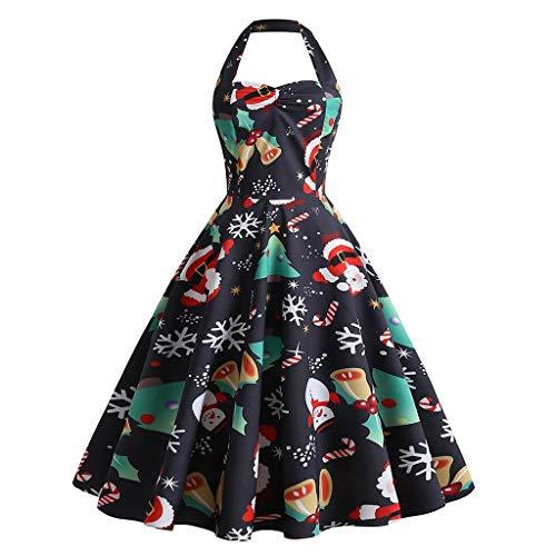 Writtian Weihnachtskleider für Damenn Gedruckt Kleid Xmas Kleidung Neckholder Cocktailkleid Hohe...