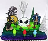 Nightmare Before Christmas Birthday Cake Topper Set Featuring Jack Skellington and Friends and Decorative Themed Accessories