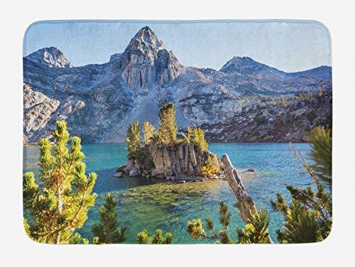 ABAKUHAUS Montañas Tapete para Baño, Sierra Nevada Spring Lake, Decorativo de Felpa Estampada con Dorso Antideslizante, 45 cm x 75 cm, Amarillo Verde Azul Gris