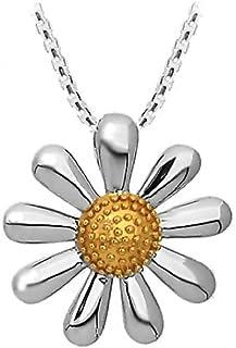 1 Daisy flower pendant antique silver tone BFM6