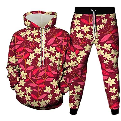3D Impreso Floral Pullover Casual Hip Hop Harajuku Streetwear, Primavera Otoño Unisex Sudadera Con Capucha Pantalones Conjunto, 14, XL