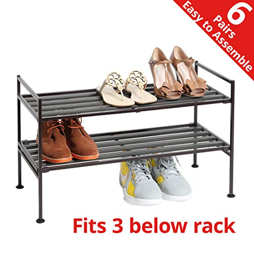 Seville Classics 2-Tier Stackable 6-Pair Woodgrain Resin Slat Shelf Sturdy Metal Frame Shoe Storage Rack Organizer, Perfect for Bedroom, Closet, Entryway, Dorm Room, Espresso